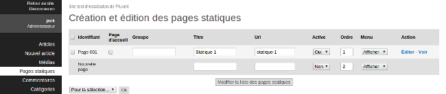 modification page d'accuei pluxml