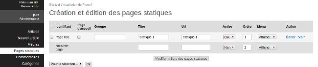 modification page d'accuei pluxml