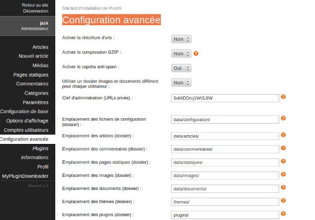 configuration avancée pluxml