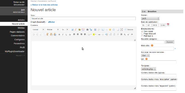 édition d'articles dans pluxml