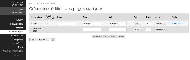 page statique pluxml