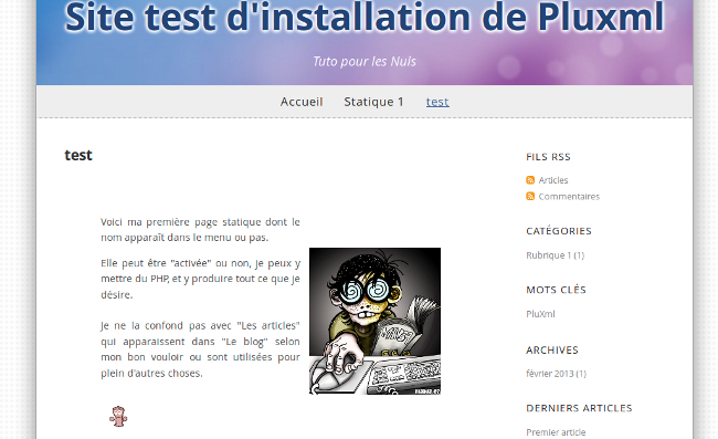 page de test installation pluxml
